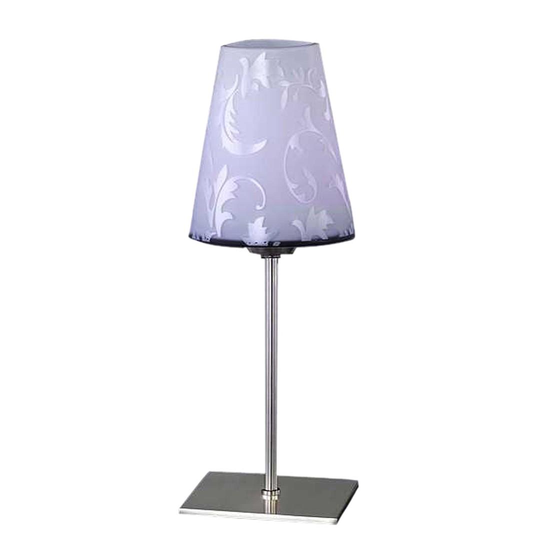 energie  A++, Tafellamp Flora - mat nikkel/glas met bloemenmotief - met handschakelaar - spaarlamp - met 1 lichtbron, Wofi