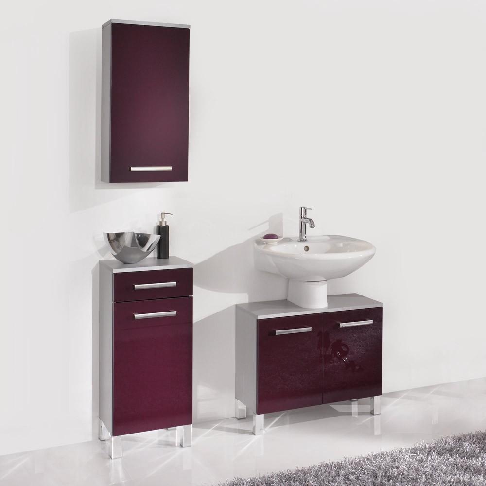 Set da bagno Hamilton (3 pezzi) - argento/color melanzana lucido, Aqua Suite
