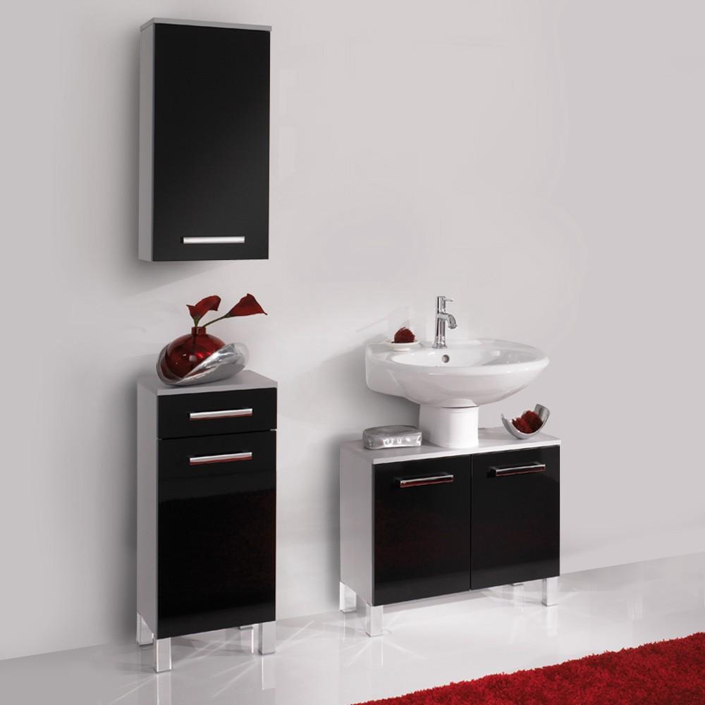 Badkamerset Hamilton (3-delig) - zilver/zwart hoogglans, Aqua Suite