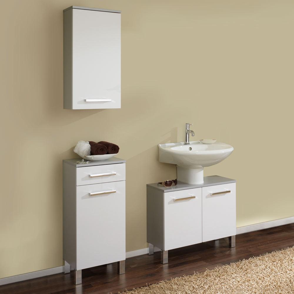Home 24 - Ensemble de salle de bain hamilton (3 éléments) - argenté / blanc brillant, aqua suite