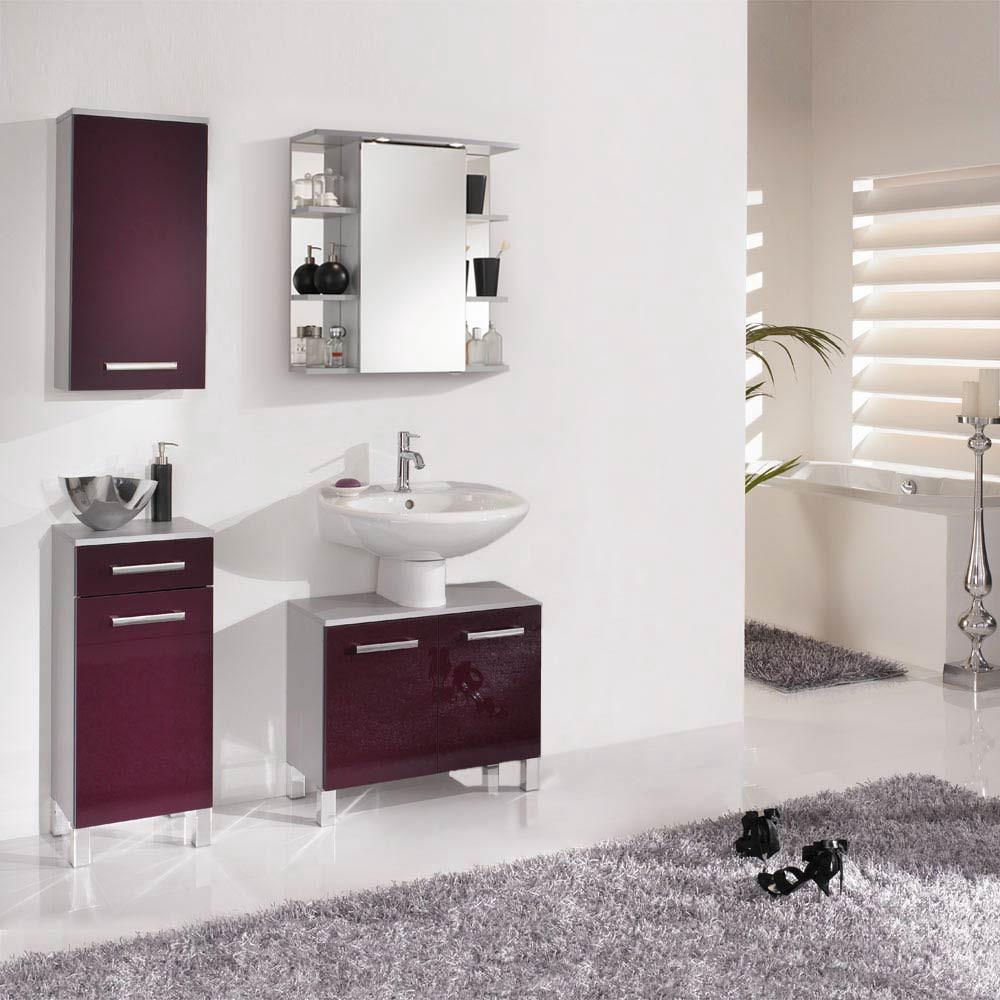 Home 24 - Eek a++, ensemble de salle de bain hamilton (4 éléments) - argenté / violet brillant, aqua suite