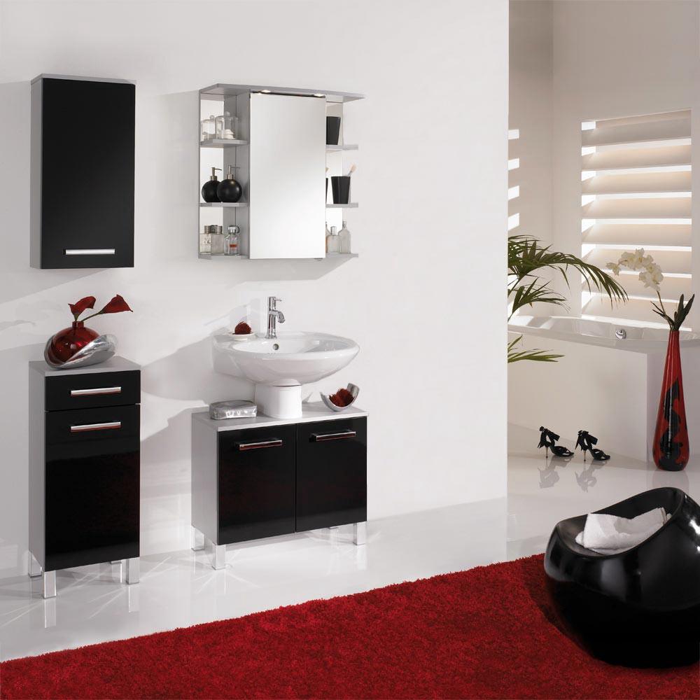 Home 24 - Eek a++, ensemble de salle de bain hamilton (4 éléments) - argenté / noir brillant, aqua suite