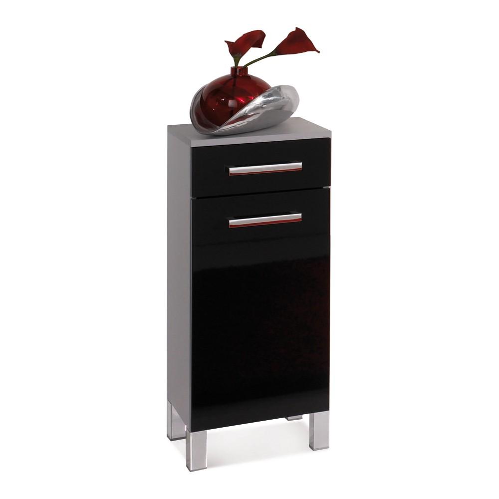Badkamerkastje Hamilton zilver-zwart hoogglans, Aqua Suite