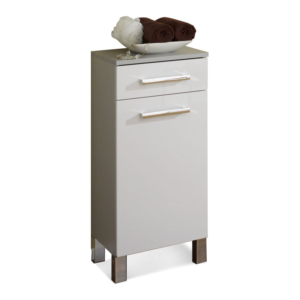 Mobiletto Hamilton - Color argento/Bianco lucido, Aqua Suite
