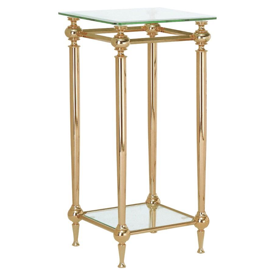 Table d'appoint Bianka - Acier contreplaqué or / Verre avec bord à facettes, Home Design