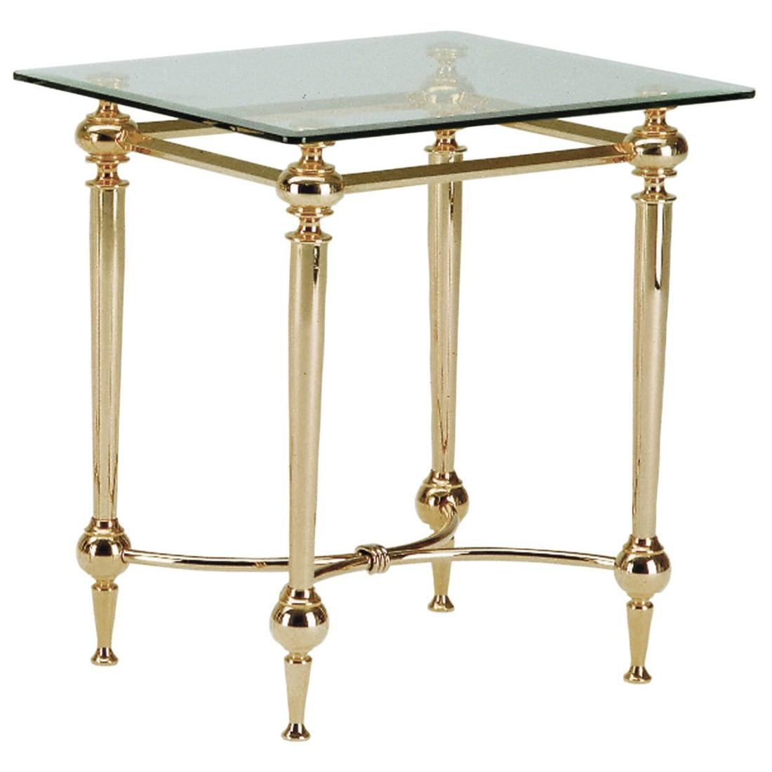 tavolino Bianka I - Acciaio dorato/Vetro con bordo sfaccettato, Home Design