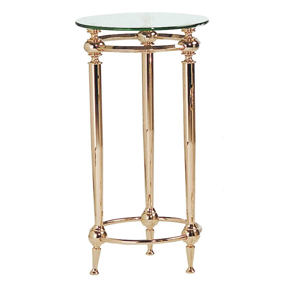 Tavolino portavaso Bianka II - Acciaio dorato/Vetro con bordo sfaccettato, Home Design