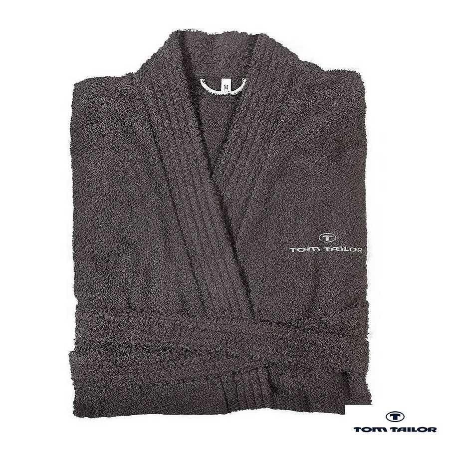 Badjas Kimono - badstof - donkergrijs - XL, Tom Tailor