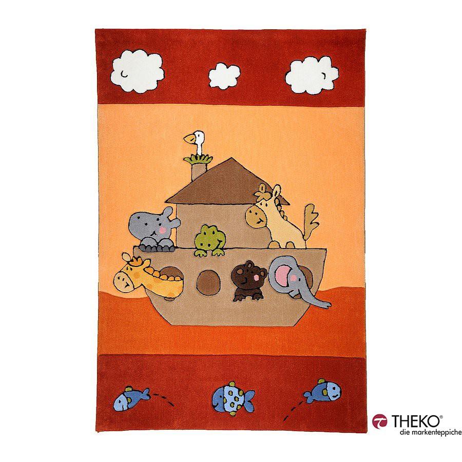 Home 24 - Tapis pour enfant maui - arche de noé rouge - 100 x 160 cm, theko die markenteppiche