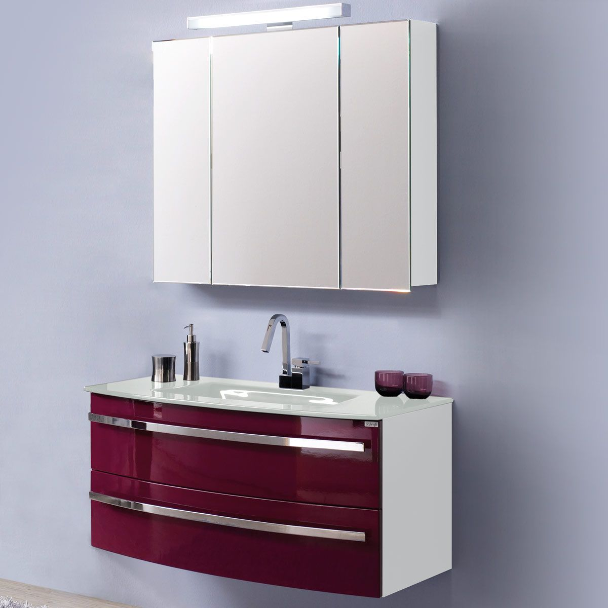 Home 24 - Eek a, meuble lavabo kingston - blanc / mûre brillant, aqua suite