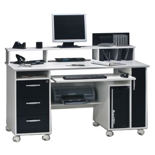 Home 24 - Bureau d ordinateur loel - blanc / noir, maja möbel