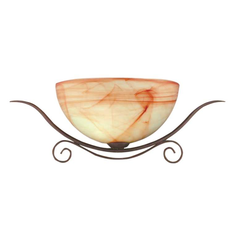energie  A++, Wandlamp Lacchino - roestkleurig, ananaskleurig glas/bruin - met 1 lichtelement, Wofi