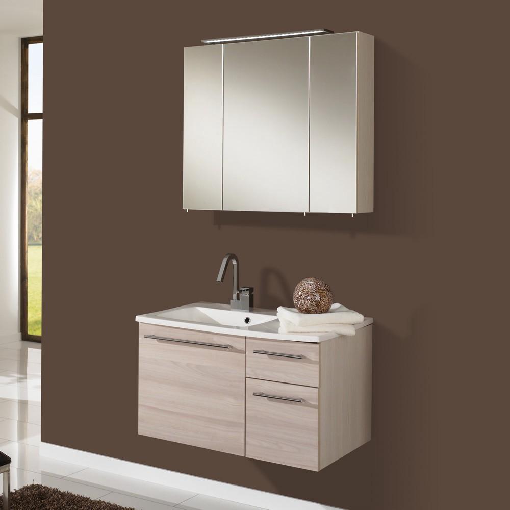 Home 24 - Eek a+, meuble lavabo markham - avec armoire à miroir - pin couleur miel, aqua suite