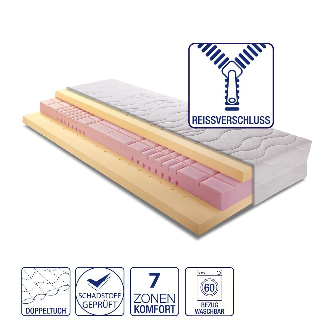 Matelas Memory Premium visco-élastique : blanc - 90 x 200cm - D2 jusqu'à 80 kg, Breckle