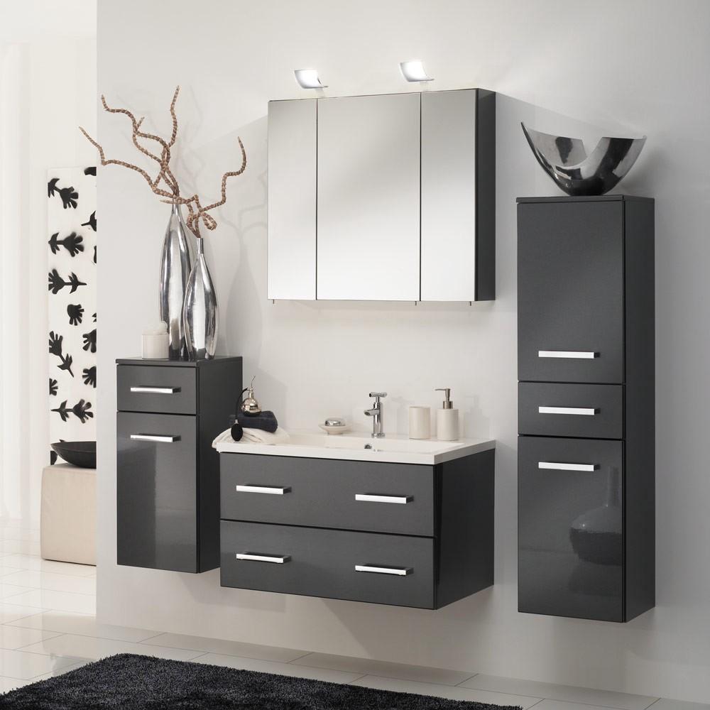 Home 24 - Eek a, ensemble de salle de bain montreal - anthracite brillant - ensemble de 4 éléments, aqua suite