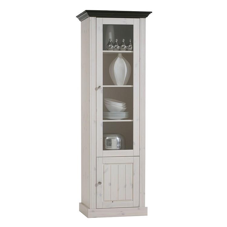 Home 24 - Vitrine lyngby - pin massif - blanc / wengé, maison belfort