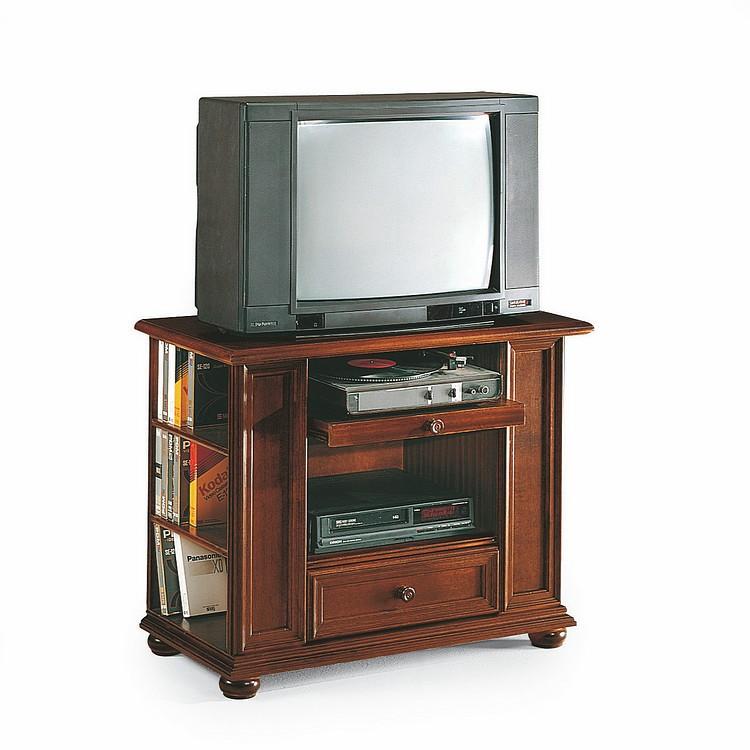 Meuble TV Palermo - Avec une tablette extractible, 1 tiroir, et 3 compartiments pour CD et DVD, Mont