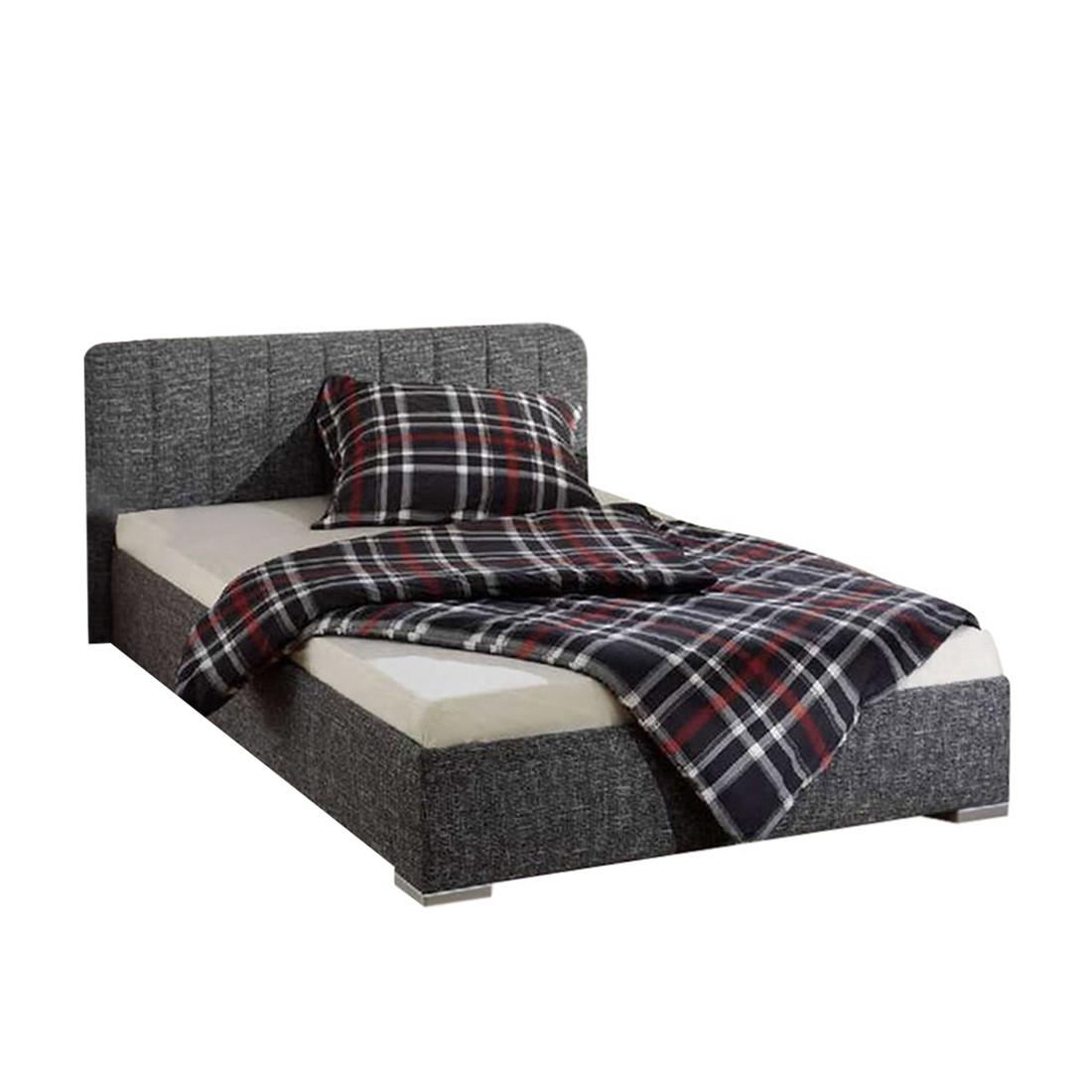 Bed New Jersey - structuurstof - 180 x 200cm - Bedframe zonder matras & lattenbodem - Antraciet, Monaco