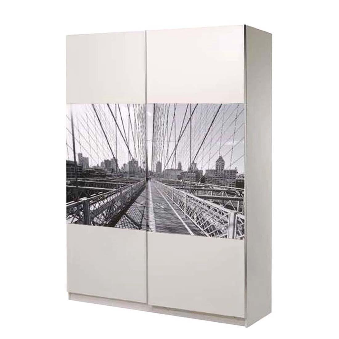 Kleiderschrank New York - Weiß Dekor - verschiedene Breiten (6cm