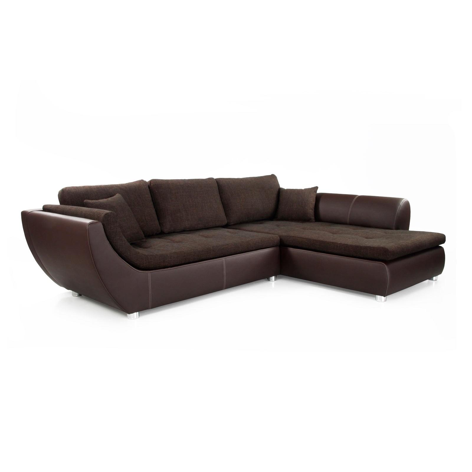 Canapé d'angle Nikolas - Imitation cuir / Tissu - Méridienne à droite (vue de face) - Marron, Home D