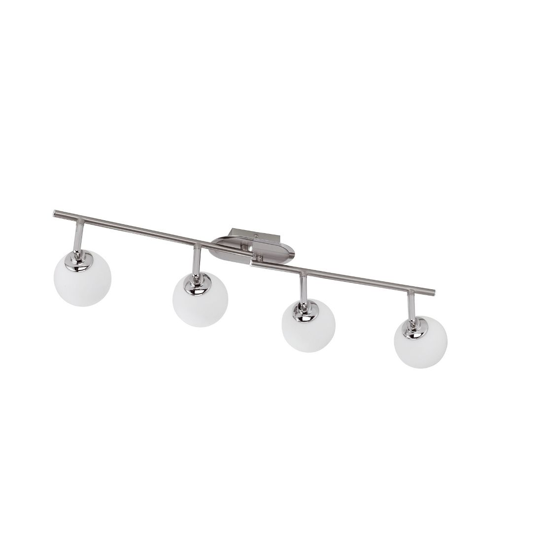 energie  A+, Plafondlamp Bola - 4 lichtbronnen - spots zijn draai- en kantelbaar - staal/opaalglas - metaalkleurig/wit, Paul Neuhaus