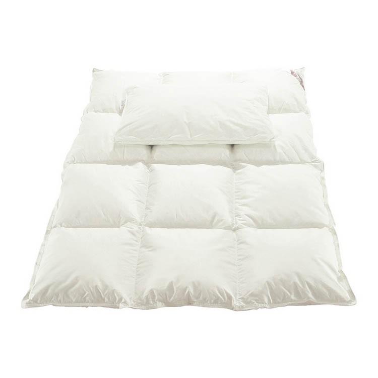 Babybettgarnitur Daunen - Kopfkissen & Decke - 100% Baumwolle - Weiß, Pinolino