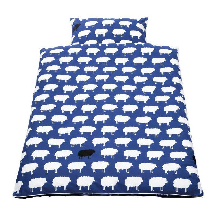 Babybeddengoed Happy Sheep 2 delig   overtrek en kussensloop   blauw_ Pinolino