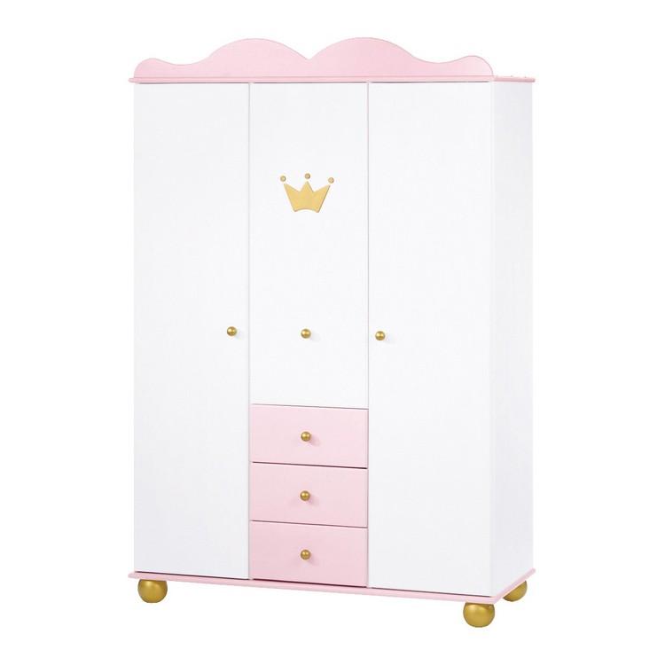 Kledingkast Princes Karolin   massief vuren   wit roze gebeitst_ Pinolino
