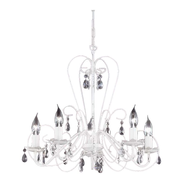 EEK A++, Pendelleuchte - Glas/Metall - Weiß - 5-flammig, Honsel