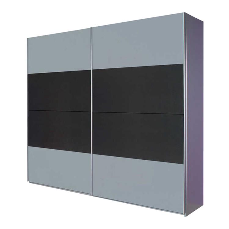 Armoire à portes coulissantes Quadra I - Aluminium brossé / Gris métalisé - 136 cm (2 portes) - 210