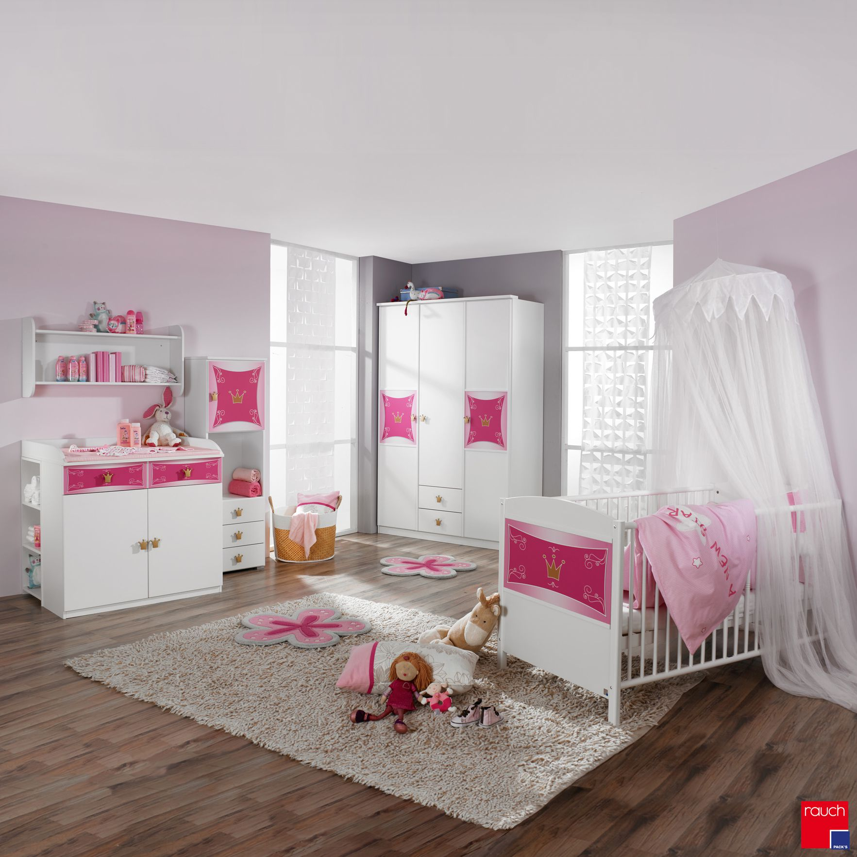 Babyset Kate 3 delig   babybed_ babycommode en kledingkast in wit roze_ Rauch Packs