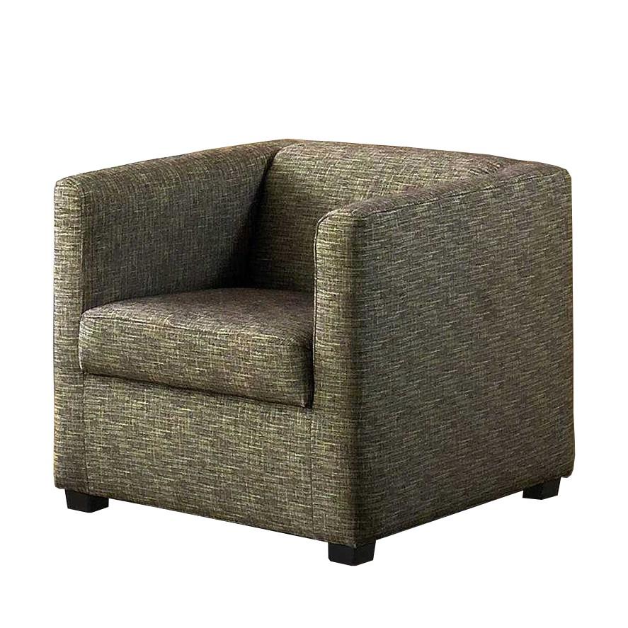 Fauteuil Richmond - Tissu structuré - Beige - Marron, Home Design