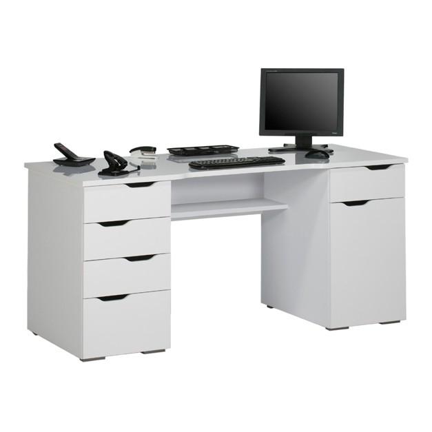 Computertisch Scarlett - Arktis-Weiß Hochglanz, Maja Möbel