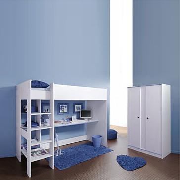 Ensemble économique I Smoozy (2 éléments, rose ou bleu) - Lit mezzanine et armoire à vêtements Bord