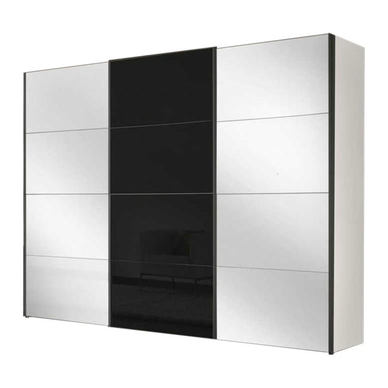 Armoire à portes coulissantes Four You XVII - Blanc polaire / Verre noir, Express Möbel