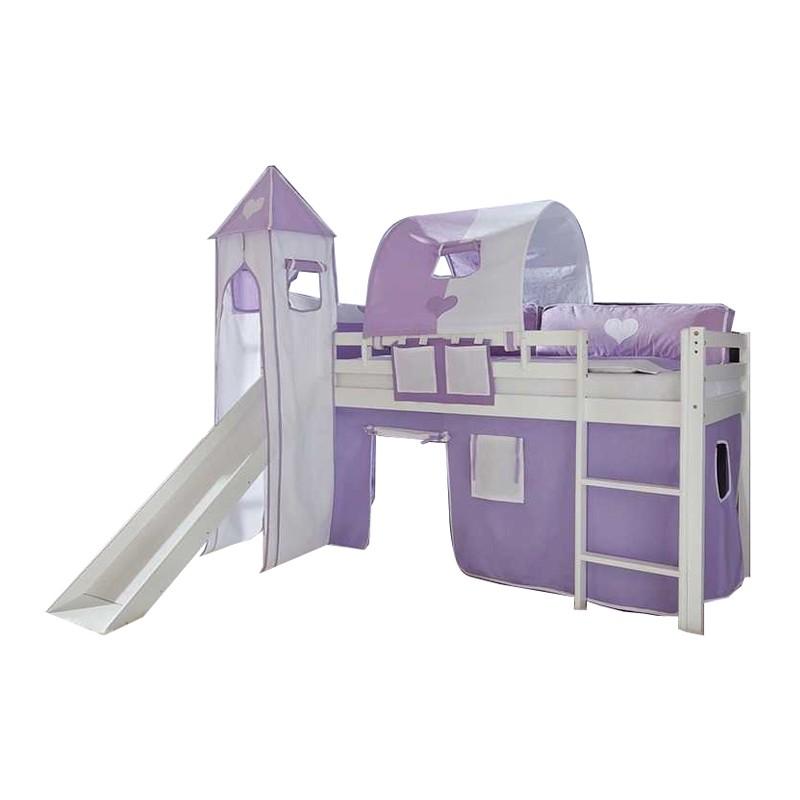 Spielbett Toby - Massivholz Buche lackiert - mit Rutsche und Textilset - Weiß lackiert mit Textilset Lila/Weiß mit Turm und Tunnel, Relita
