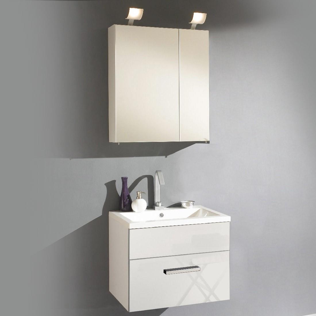 energia B, Mobile da lavabo Victoria - Lavabo incluso + armadietto a specchio 60 cm Bianco lucido, Aqua Suite
