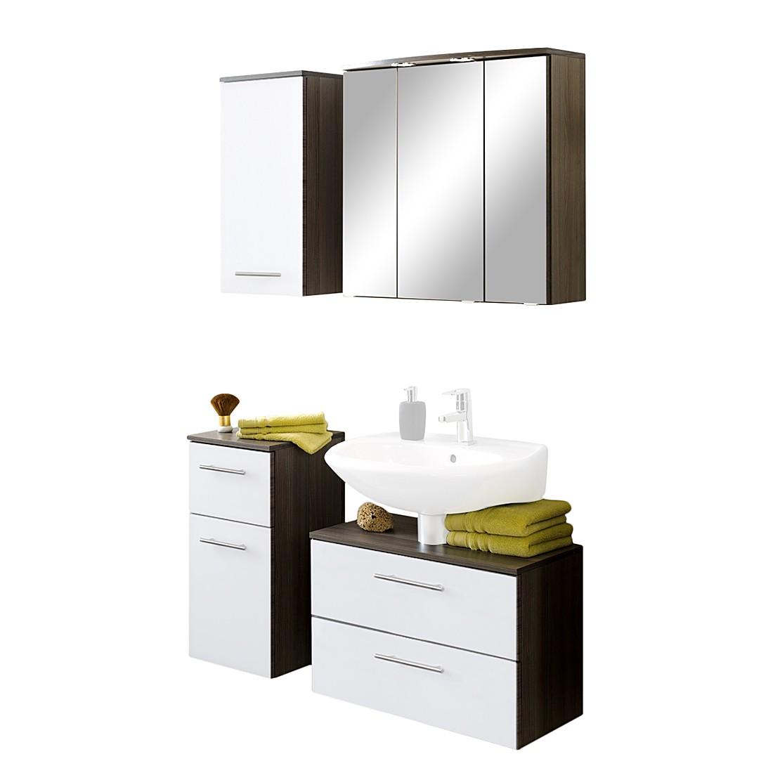 Home 24 - Ensemble de meubles, 4 éléments well-ness - chêne foncé / blanc, giessbach