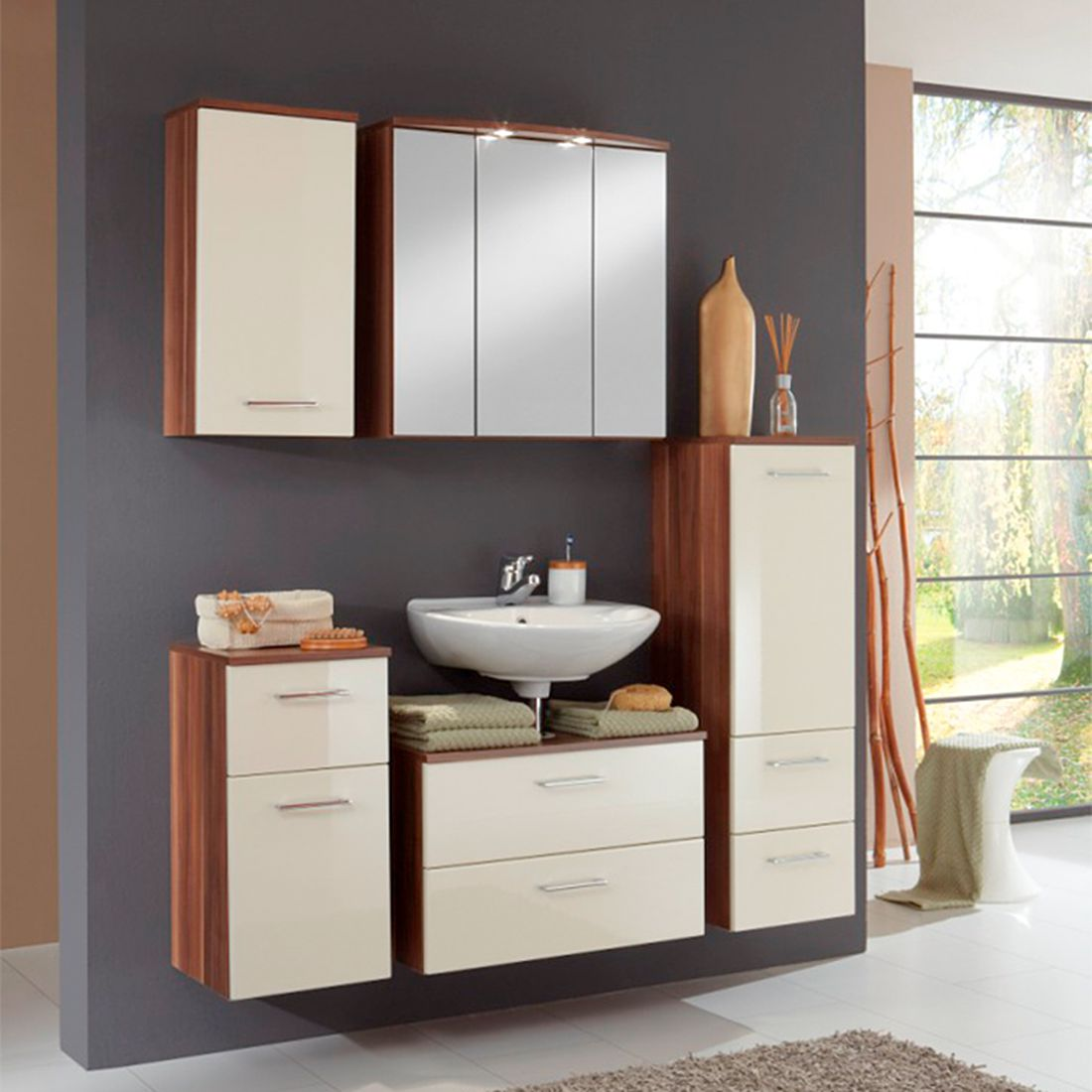 Home 24 - Ensemble de meubles, 5 éléments marino - imitation noyer / crème, giessbach