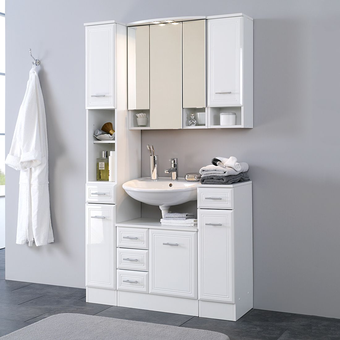 Home 24 - Ensemble de meubles, 5 éléments poseidon - blanc, giessbach