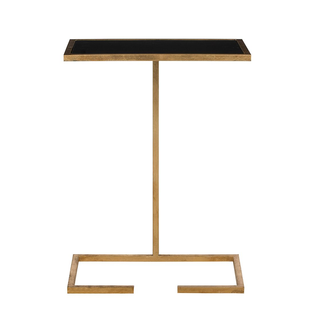 Tavolino Neil - Ferro color oro/Vetro nero, Safavieh