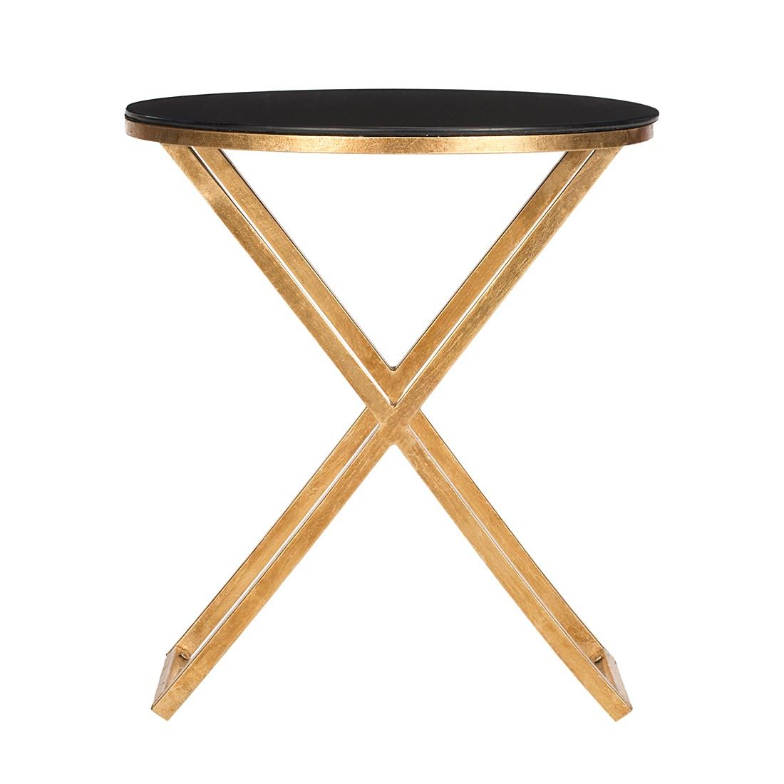 Tavolino Riona - Ferro color oro/Vetro nero, Safavieh