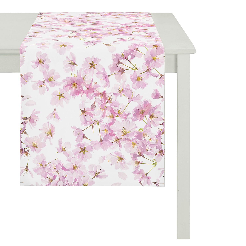 Tafelloper Springtime Cherryblossom - katoen - roze/wit, Apelt