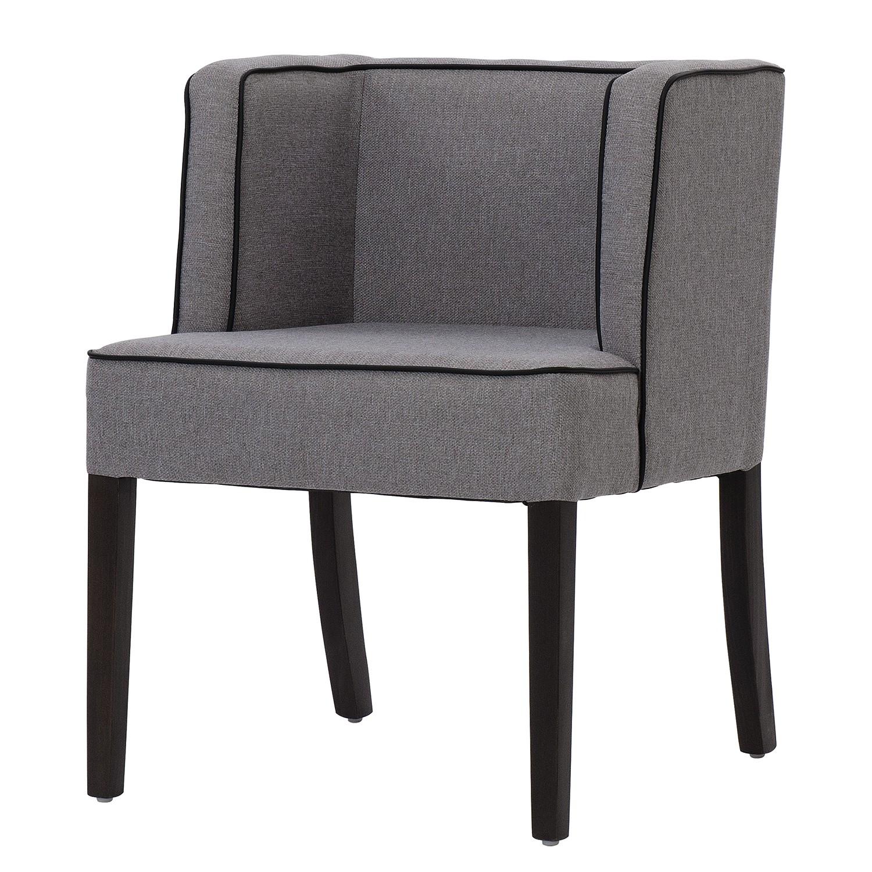 Home 24 - Chaise à accoudoirs alia - tissu - hêtre foncé - tissu suria gris clair, studio copenhagen