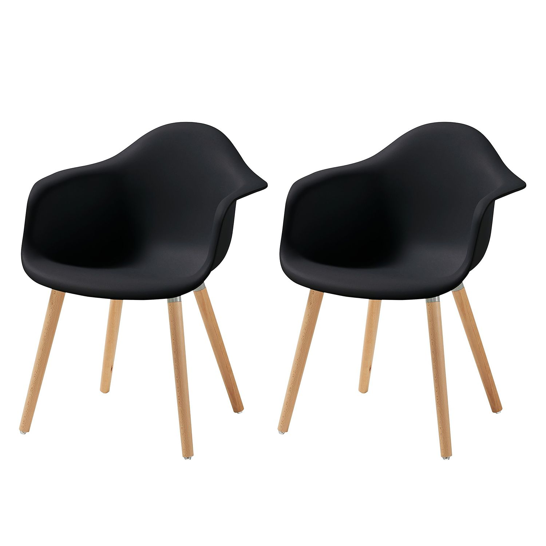 Chaise à accoudoirs Cevo (lot de 2) - Matériau synthétique / Hêtre massif - Noir, Morteens
