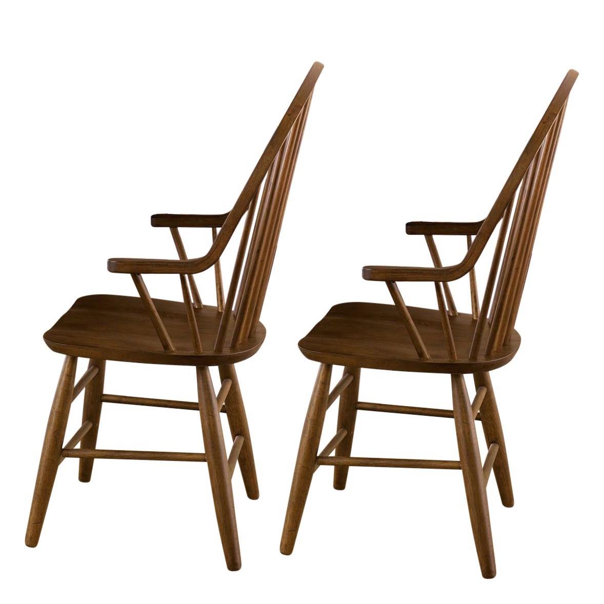 Armleunstoelen Marty (2-delige set) - bruin massief rubberboomhout, Maison Belfort