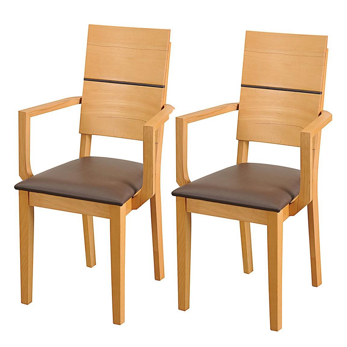 Home 24 - Chaise avec accoudoirs richwood (lot de 2) - cuir véritable marron - duramen de hêtre, ars natura