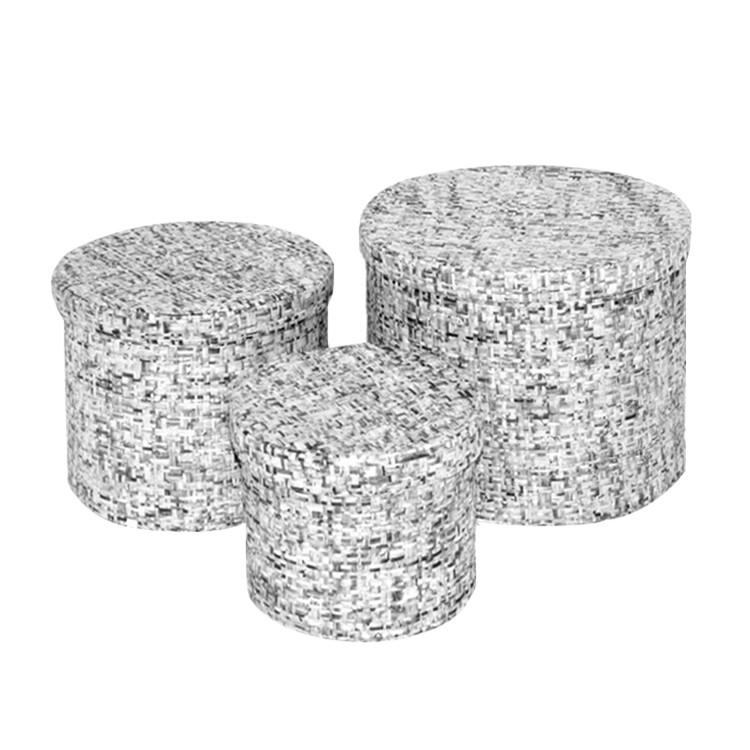Home 24 - Corbeilles (lot de 3) - forme ronde - noir / blanc, flechtwaren müller