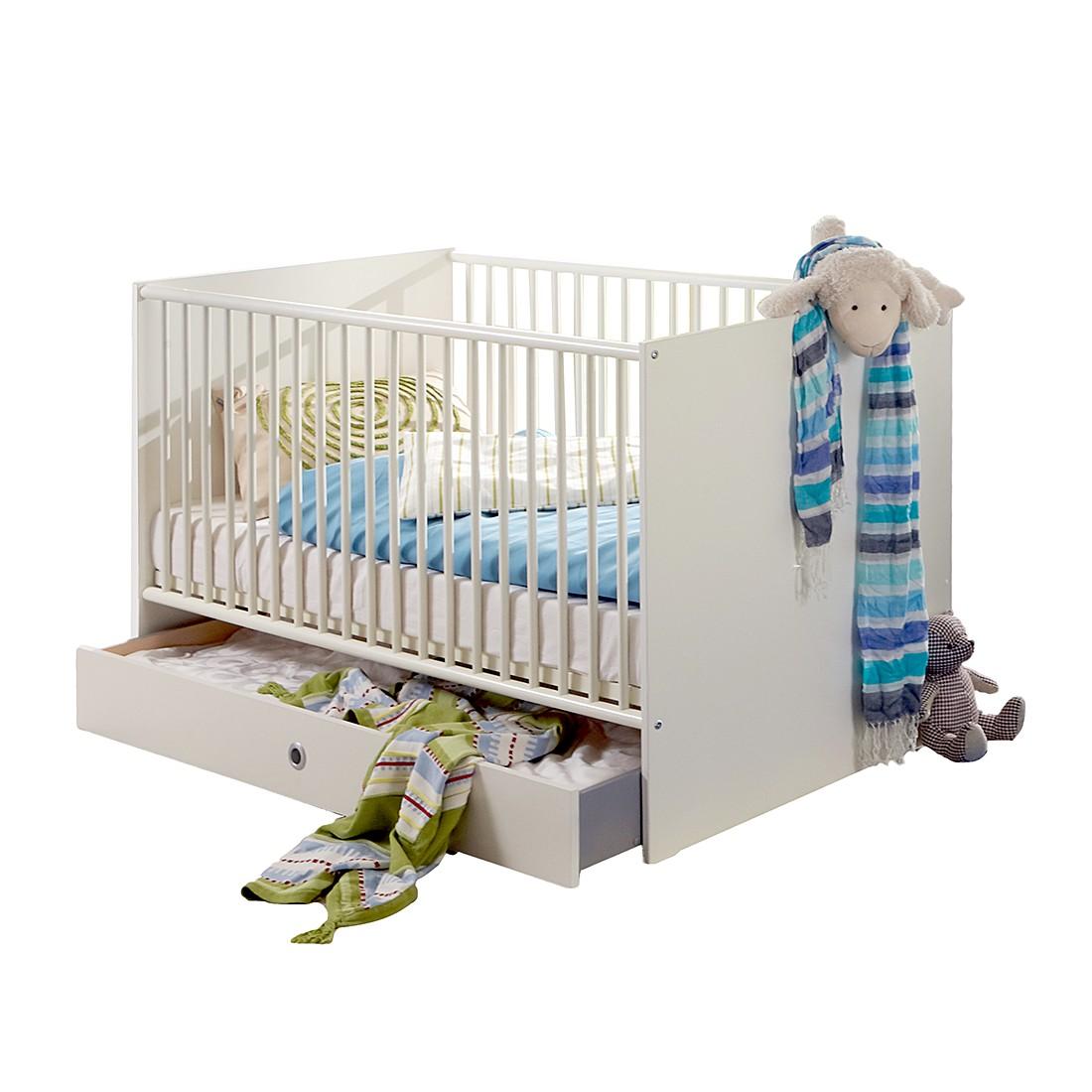 Lit pour bébé Bibo - Blanc alpin Lit bébé avec côtés et tiroirs de lit, Wimex