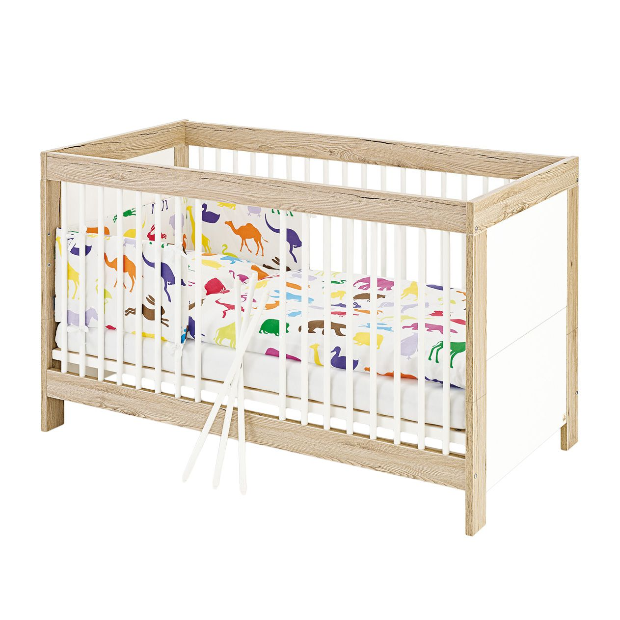 Babybett Candeo Kids - Eiche Dekor / Weiß, Pinolino